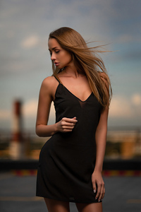 480x854 Girl Black Dress Closed Eyes Windy Weather 4k