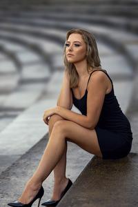 320x480 Girl Black Dress Sitting On Stairs 8k