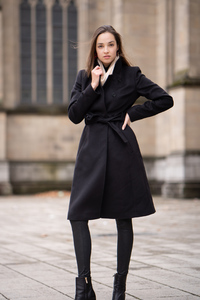 750x1334 Girl Black Long Coat 5k