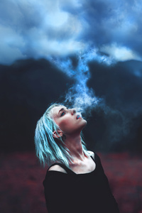 480x800 Girl Blowing Clouds 4k