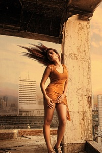 Girl Building Architecure Hairs In Air