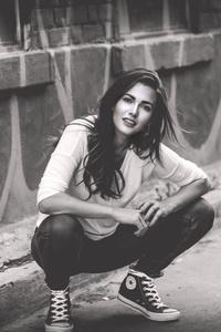 Girl Crouching Monochrome 4k