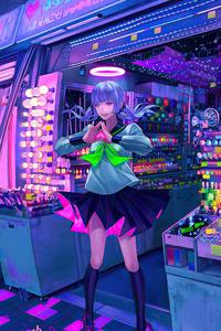 Girl Cyberpunk Shop 4k