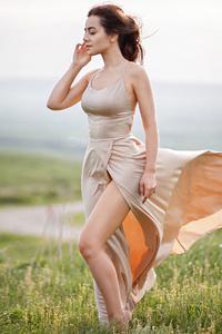 320x568 Girl Dress Wind Blowing Field 4k