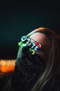 Girl Glasses Glowing Lights 4k