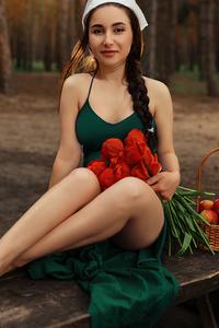 480x854 Girl Green Dress 5k
