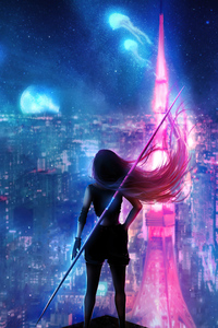 1440x2960 Girl Hair Flowing Neon City