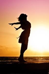 Girl Happiness Sunrise Shore
