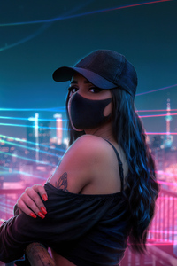 640x1136 Girl Hat Neon Lights City