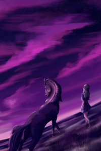 2160x3840 Girl Horse Fantasy Creature Dreamy 5k