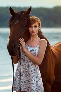 480x800 Girl Horse Ocean Side 4k