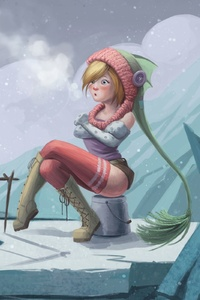 Girl In Cold Weather Fantasy Artwork