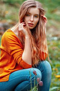 720x1280 Girl In Orange Sweater Outdoor