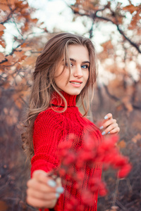 1125x2436 Girl In Red Dress Autumn 4k