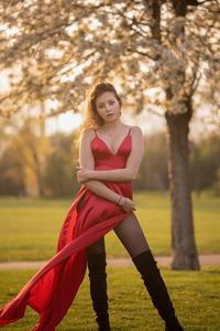 1440x2960 Girl In Red Satin Dress 5k