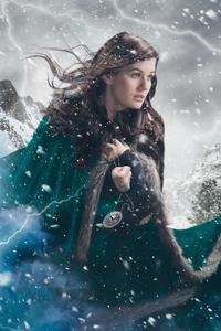 1080x2160 Girl In Snow