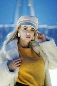 1242x2688 Girl In Snow Winter Outdoors