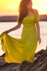2160x3840 Girl In Yellow Spaghetti Dress 5k