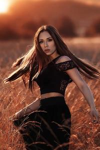 320x480 Girl Model Sunset Gold Field 4k