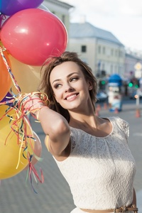 Girl Mood Smile Balloon Outdoors 8k