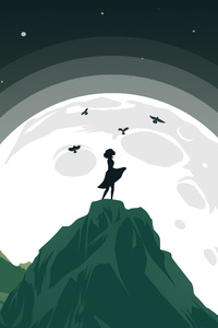 Girl Mountain Top Birds Flying Around Her Minimalist