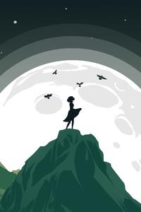 640x1136 Girl Mountain Top Birds Flying Around Her Minimalist