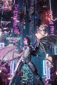 1440x2960 Girl Of Cyber City