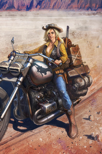 1080x2280 Girl On Bike Artwork