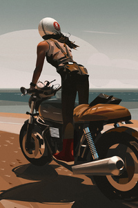 1080x2160 Girl On Bike Digital Art