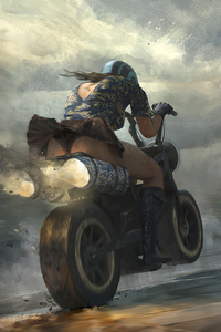 1440x2560 Girl On Bike Driving Fast