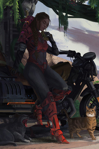 Girl On Bike With Cat