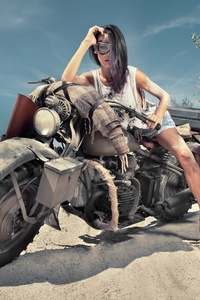 240x400 Girl On Desert Offroad Bike