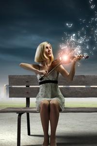 Girl Playing Violin Photo Manipulation