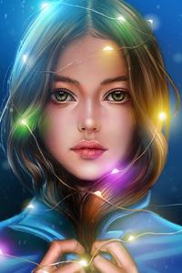 1242x2688 Girl Portrait Lights Hanging Around Head 4k