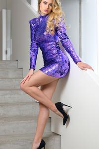 720x1280 Girl Purple Dress Blonde Hairs Stairs 4k