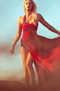 640x960 Girl Red Cheetah Dress