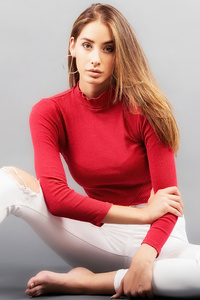 Girl Red Clothing Blonde Hairs 5k