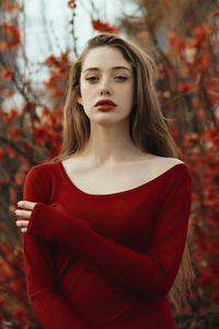 480x854 Girl Red Dress 4k