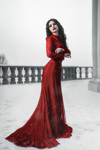 1440x2560 Girl Red Dress Snow Photoshoot