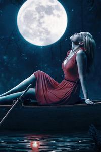 1440x2560 Girl Relaxing Red Dress Boat Moon 5k