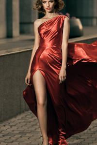 480x854 Girl Shining Red Dress Shot Hairs Blonde 4k