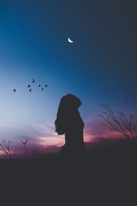 Girl Silhouette Shadow Birds Flying