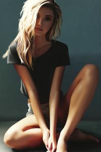 1080x2280 Girl Sitting Blonde Artwork