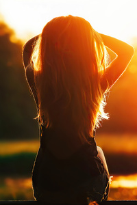 Girl Sitting Looking At Sunset Silhouette 4k