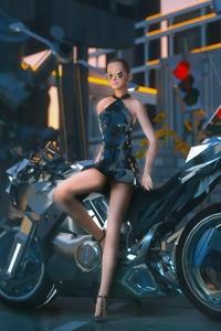 Girl Sitting On Cyber Bike
