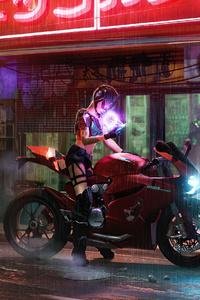 Girl Sitting On Ducati 1199 Cyberpunk