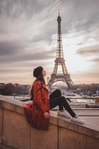 Girl Sitting On Rooftop Eiffel Tower In Back