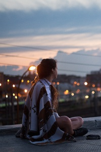 Girl Sitting On Rooftop Looking Towards Town 5k