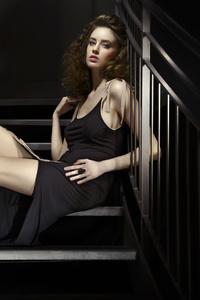 1440x2560 Girl Sitting Stairs Black Dress 8k