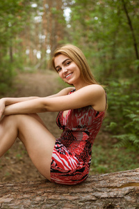 Girl Smiling Outdoors Forest